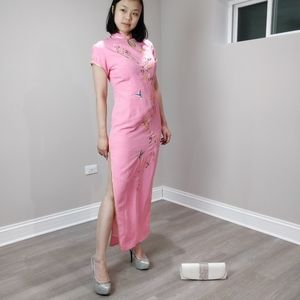 NWT pink floral embroidered long QiPao Cheongsam